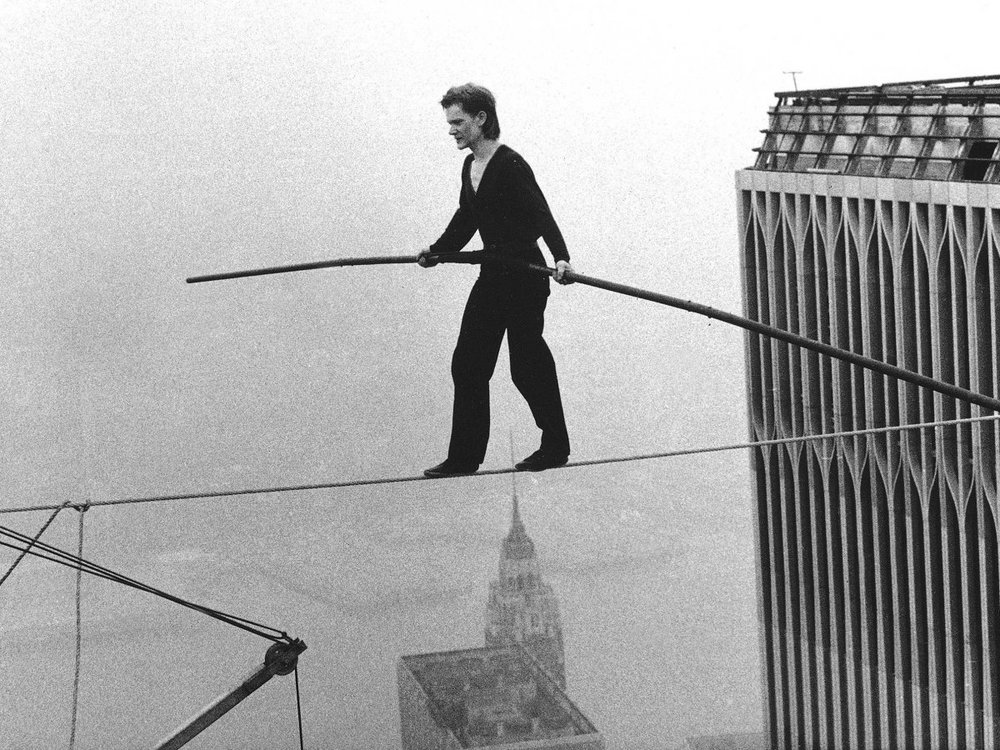 Xl philippe petit world trade center tight rope walk